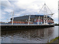 ST1776 : River Taff, Cardiff Arms Park and the Millennium Stadium, Cardiff by David Dixon