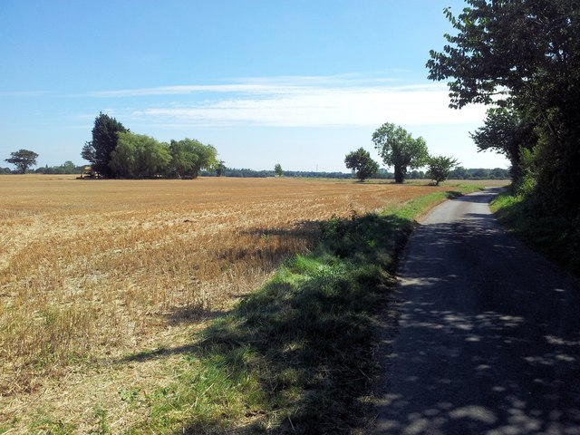 Country road alongside farmland in Waterheath