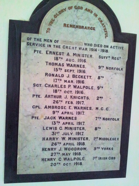 WW1 War memorial inside Thurlton Church