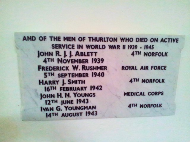 WW2 War memorial inside Thurlton Church