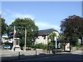 SD4970 : War memorial and bus stop, Carnforth by Malc McDonald