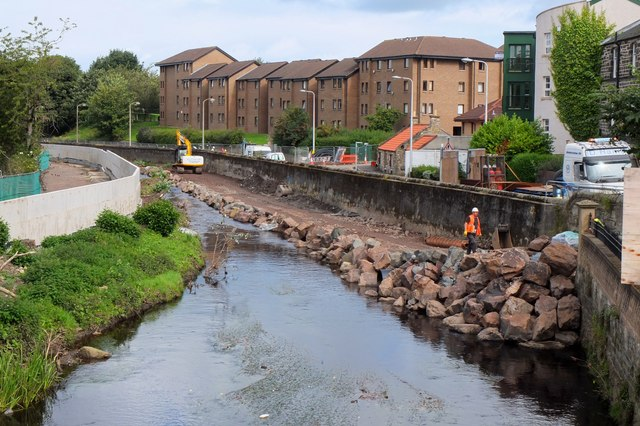 Flood defence work, Water of Leith by Jim Barton