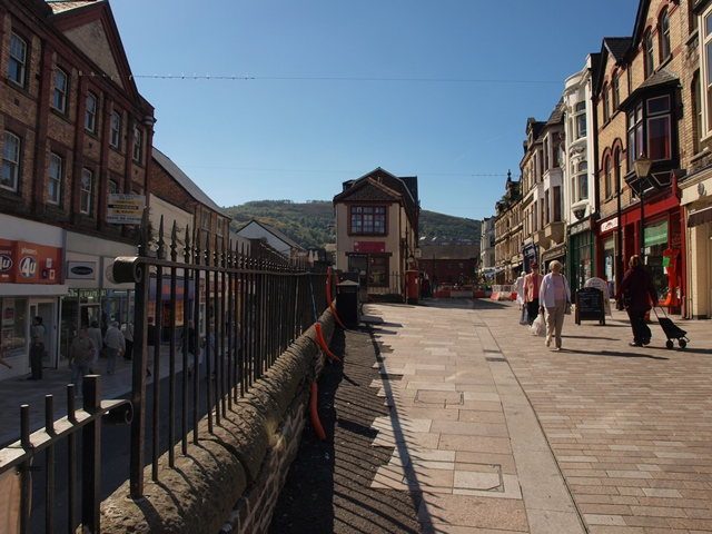 The High Pavement in Pontypridd, Market Street on the right, Taff Street on the left