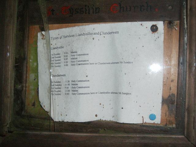 St. Tyssilio's Church notice board