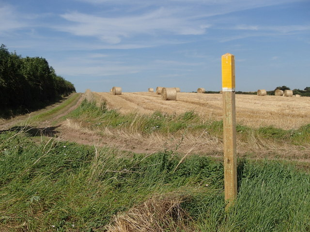 Field with bales, and footpath marker