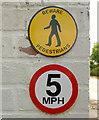 SJ8255 : Warnings at BWB Red Bull near Hardings Wood, Staffordshire by Roger  Kidd