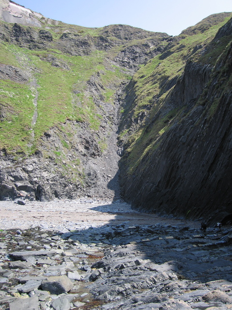 Aberystwyth grits - faultline across cliff and foreshore