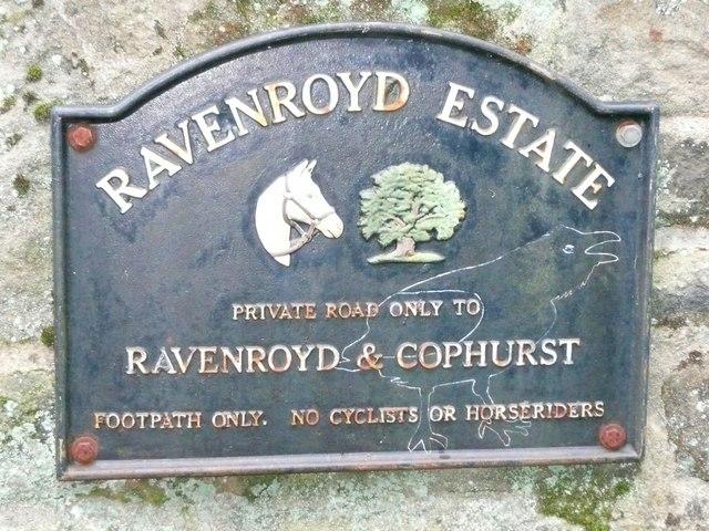 Sign at entrance to the Ravenroyd Estate, Bingley