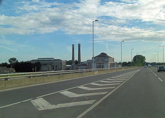 A316 passes Kempton Park Water Treatment Works