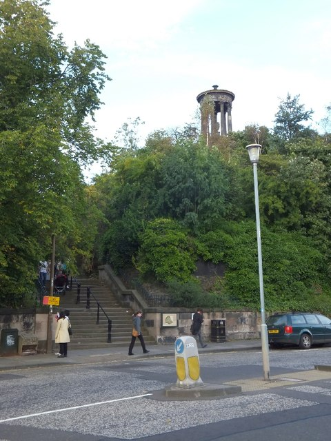 Calton Hill steps and Dugald Stewart Monument