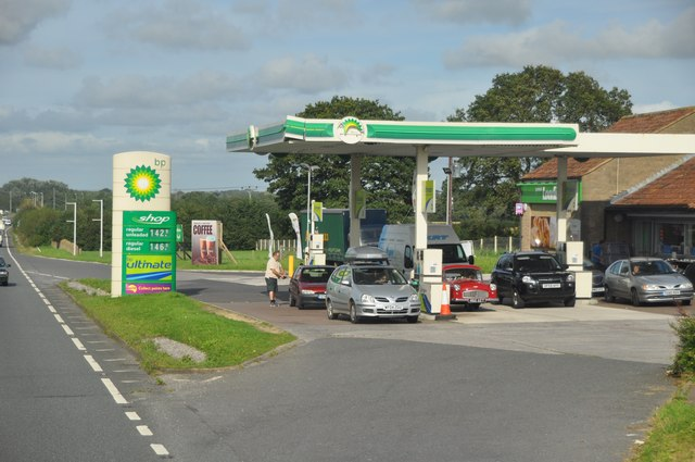 South Somerset : The A303 & BP Petrol Station