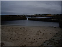NJ6864 : Banff Harbour entrance and North Pier light by Stanley Howe