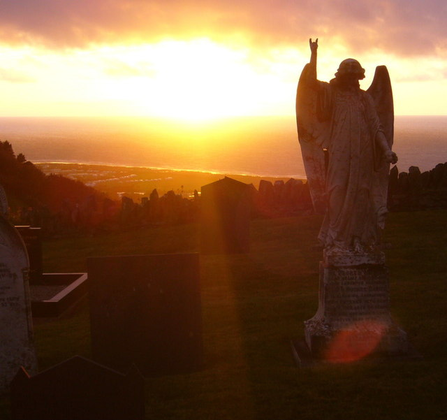 Llanddewi Aberarth Churchyard at sunset