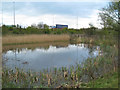 SP2186 : Surface water lagoon south of the M6 westbound by Robin Stott