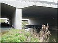 SP2186 : River Blythe below motorway bridges by Robin Stott