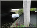 SP2186 : River Blythe below the M6 by Robin Stott