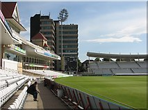 SK5838 : The Radcliffe Road End, Trent Bridge House and the old scoreboard by John Sutton