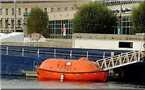 J3474 : Former ship's lifeboat, Belfast by Albert Bridge
