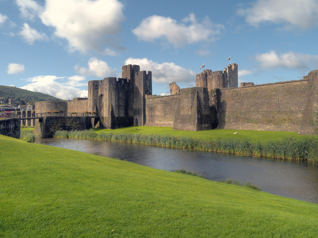 Caerphilly Castle, Outer Wall and Moat