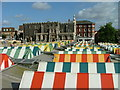 TG2208 : Colour roofs of Norwich Market by Dave Fergusson