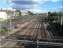 TQ2282 : Railway tracks seen from Scrubs Lane bridge by David Martin