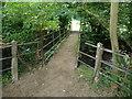 SO2376 : Footbridge over the Teme near Llanfair Waterdine by Jeremy Bolwell