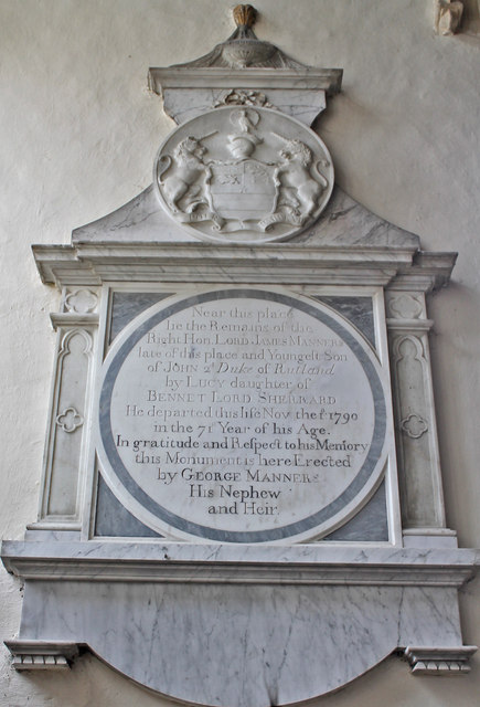 Memorial to James Manners, St Andrew's church, Ufford
