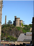 NT2674 : Edinburgh: the monuments on Calton Hill, down New Street by Christopher Hilton