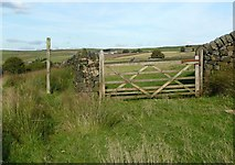 SD9921 : Gate on Hebden Royd FP 120 by Humphrey Bolton