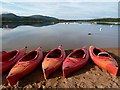 NH9709 : Canoes by Loch Morlich by Walter Baxter