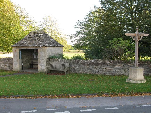 Bus shelter and village sign, Filkins