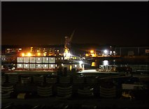 TQ7769 : Basin 3, Chatham Docks at night by David Anstiss