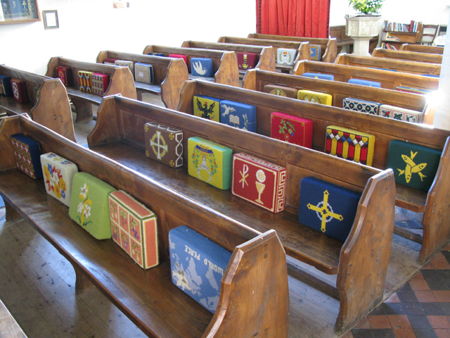 Hassocks in St Peter's church, Filkins