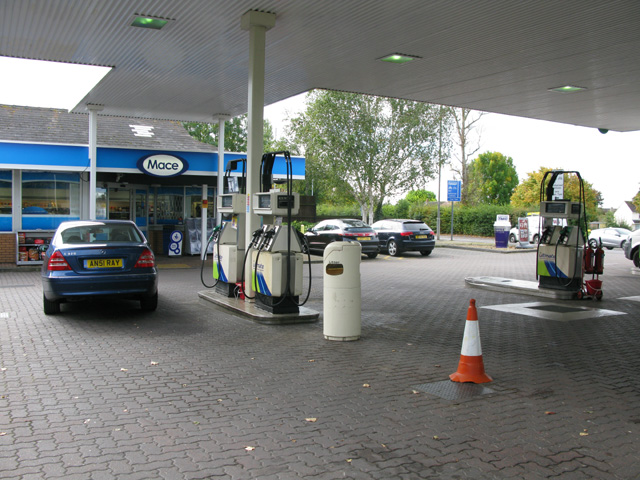 Petrol station forecourt on the A311 Cricklade Road