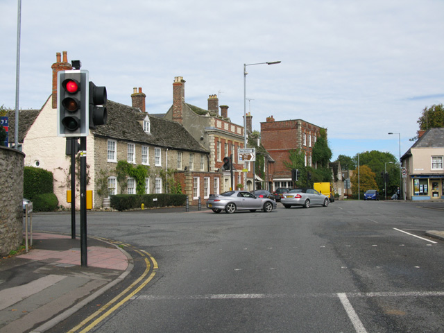 Road junction on Swindon Street, the A361, Highworth