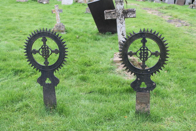 Unusual Iron Grave markers, Ss Andrew & Mary's churchyard