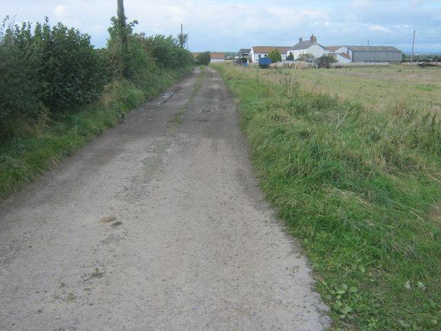 Footpath to Hopewell Farm on farm access road