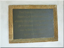 ST6601 : St Mary, Cerne Abbas: re-opening plaque by Basher Eyre