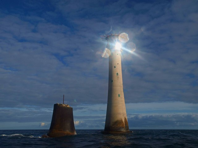The sun glints on the solar panels on Eddystone lighthouse