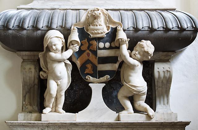 St Decuman's church, Watchet - monument to Sir William Wyndham (2) detail