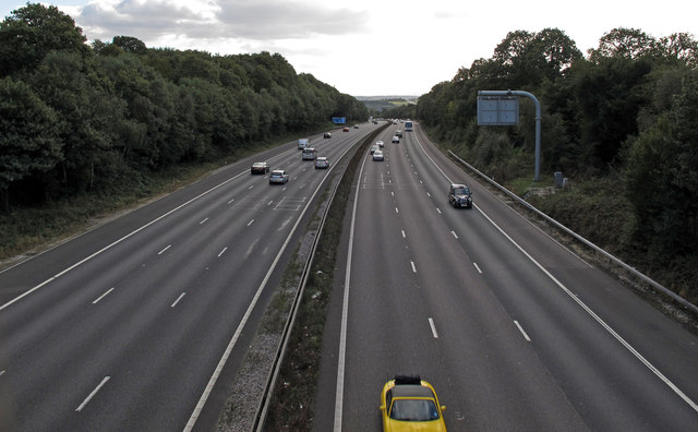 Looking south over the M25