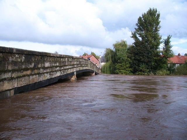 The Ure in flood at Boroughbridge