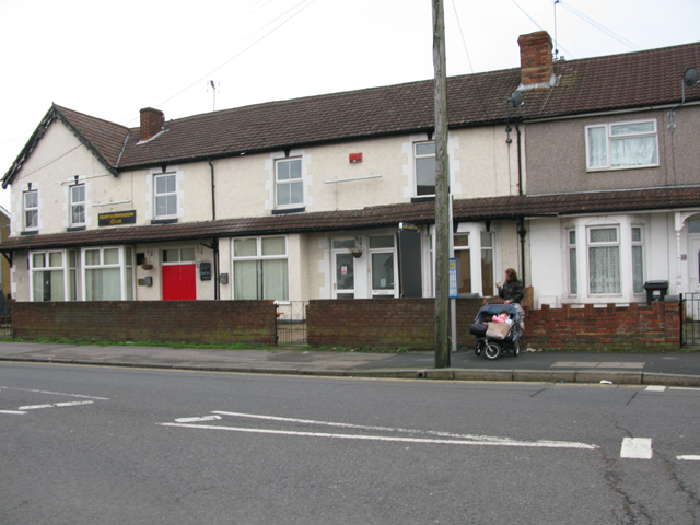 North Swindon Club and terraced houses on Cheney Manor Road