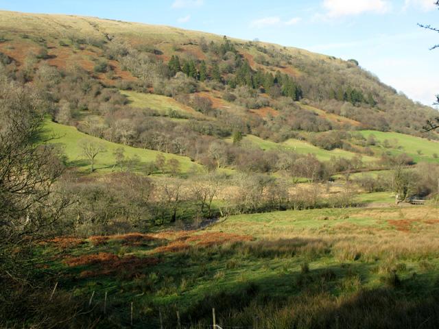 The Afon Senni just visible through the valley bottom