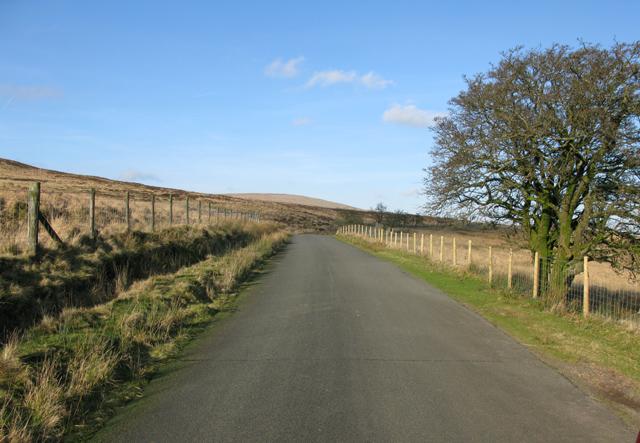 The road near Maen Llia standing stone