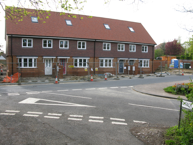 New houses at the top of Fir Tree Hill, Woodnesborough