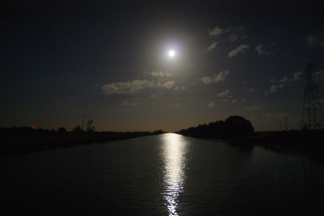 Huntspill river by moonlight