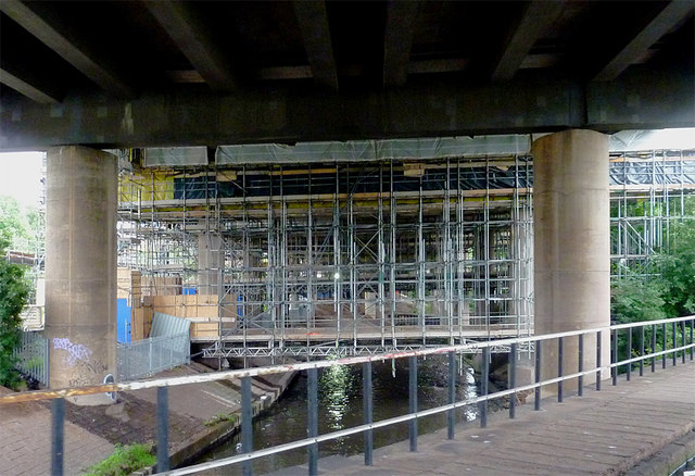 Scaffolding and the River Tame near Gravelly Hill, Birmingham