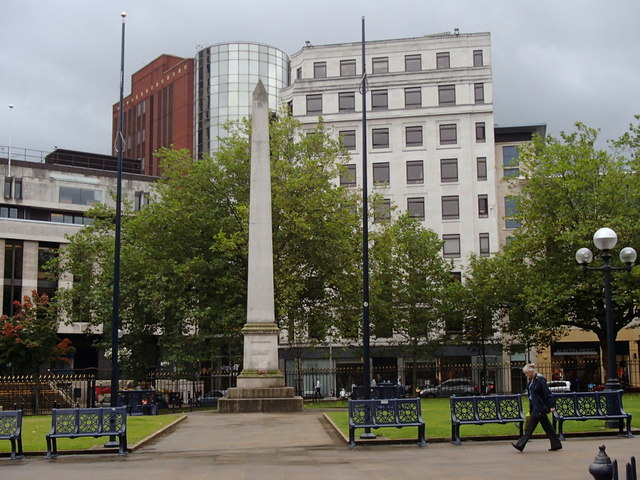 Monument and buildings by Birmingham Cathedral