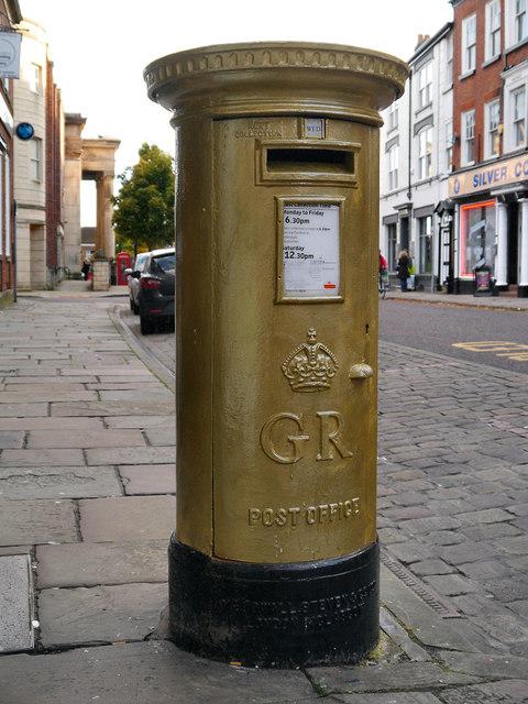 Sarah Storey's Gold Postbox, Macclesfield